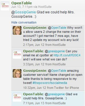 OpenTable ThePowerOfSocialMedia Gossip Genie - What is open table reservation